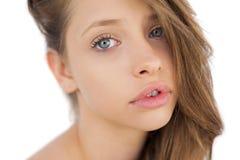 Älskvärd brunettmodell som poserar se kameran Royaltyfri Fotografi