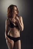 Älskvärd brunhårig flicka som poserar i sexig underkläder Arkivbilder