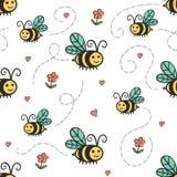 Älskvärd enkel modell med bin och blommor Royaltyfri Fotografi