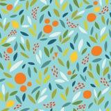Älskvärd färgrik sömlös modell med gulliga apelsiner, citroner och sidor i ljusa färger Royaltyfri Foto