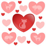 Älskvärd garneringuppsättning med kattungar och hjärtor Arkivfoto
