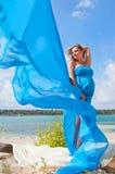 Älskvärd gravid flicka mot en bakgrund av vatten och himmel i en torkduk arkivbild