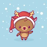 Älskvärd gullig kawaiichibi Hjorten är stå och vinka hans hand under snön lyckligt glatt nytt år för jul royaltyfri illustrationer