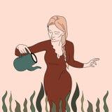 Älskvärd härlig kvinna som bevattnar blommor stock illustrationer