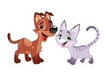 Älskvärd katt och hund. Royaltyfri Foto