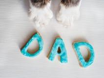 Älskvärd katt` s tafsar och ordet FARSA Royaltyfri Foto