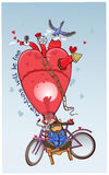 Älskvärd katt som flyga iväg en ballong i form av hjärta Royaltyfri Bild