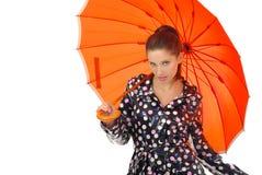 älskvärd orange umbrel för flicka Royaltyfria Bilder