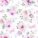 Älskvärd sömlös vektormodell i lila-, rosa färg- och vitsignaler royaltyfri illustrationer