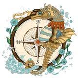 Älskvärd seahorse stock illustrationer