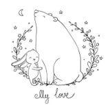 Älskvärd tecknad filmbjörn och hare lyckliga djur Arkivbild