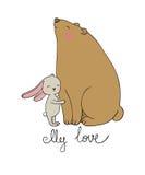 Älskvärd tecknad filmbjörn och hare lyckliga djur Fotografering för Bildbyråer