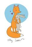 Älskvärd tecknad filmräv och hare lyckliga djur Fotografering för Bildbyråer