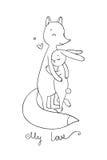 Älskvärd tecknad filmräv och hare lyckliga djur Royaltyfria Foton