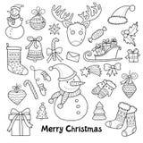 Älskvärd vektoruppsättning av jul och symboler för nytt år Arkivfoton