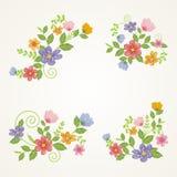 Älskvärda blommor - blom- kransdesign vektor illustrationer