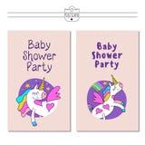Älskvärda enhörningar i de natthimlen och stjärnorna rengöringsduk för jordklotlogovektor Baby showerparti stock illustrationer