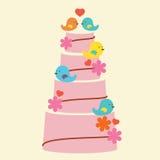 Älskvärda fåglar med bröllopstårtan stock illustrationer