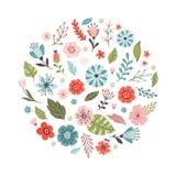 Älskvärda hand-drog vårblommor Blom- vektorillustration stock illustrationer
