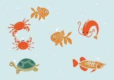 Älskvärda havsinvånare av vattenvärlden royaltyfri illustrationer