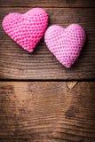 Älskvärda hjärtor för virkning Fotografering för Bildbyråer