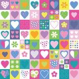 Älskvärda hjärtor och blommasamlingsbakgrund Arkivfoton