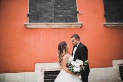 Älskvärda lyckliga brölloppar, brud med den långa vita klänningen arkivfoton