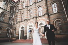 Älskvärda lyckliga brölloppar, brud med den långa vita klänningen arkivfoto