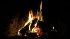 Älskvärda mysiga underbara 4k stänger sig upp öglassikt på den wood flamman för brand som långsamt bränner i atmosfär för stillhe lager videofilmer