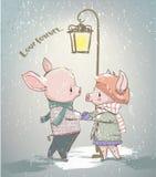 Älskvärda par av vintersvin stock illustrationer