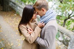 Älskvärda par som går i parkera och krama royaltyfri foto