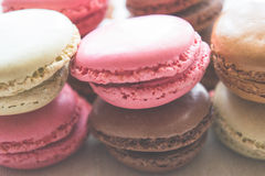 Älskvärda pastellfärgade Macaron sötsaker Arkivbild