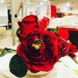 Älskvärda röda rosor på att äta middag royaltyfria bilder