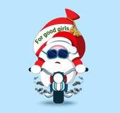 Älskvärda Santa Claus på en cykel Julsymbol Stiliserad charact Royaltyfria Bilder