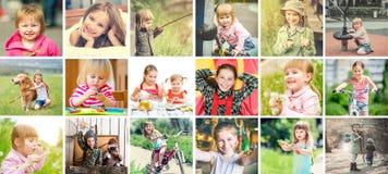 Älskvärda små flickor som är utomhus aktiva, collage royaltyfria bilder
