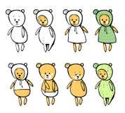 Älskvärt behandla som ett barn björnen i tecknad filmstil Arkivbild