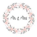 Älskvärt gifta sig kort med den rosa blom- kransen av cirkeln Shape Herr och fru Decorative Text Inside stock illustrationer