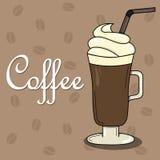 Älskvärt kort med kaffe och piskad kräm stock illustrationer
