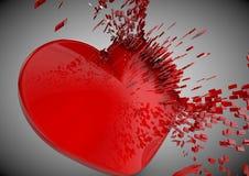 Shinny den explosiva brutna hjärtaillustrationen för förälskelse 3D Arkivfoto