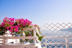 Älskvärt staket i Oia, Santorini Royaltyfria Foton