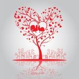 Älskvärt träd med duvor och blommor Royaltyfria Bilder