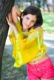 älskvärt utomhus- teen för flicka Fotografering för Bildbyråer