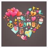 Älskvärt Valentine Day hälsningkort mycket av objekt Arkivbilder