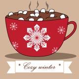 Älskvärt vinterkort med kakao och marshmallower vektor illustrationer