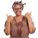 Ältere afrikanische Daumen oben Stockfotografie