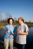 Ältere asiatische Paare stockfotos