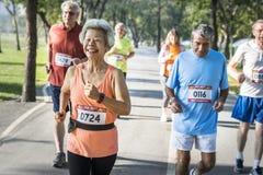 Ältere Athleten, die zusammen in den Park laufen lizenzfreies stockfoto