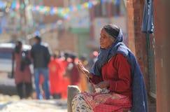 Ältere blinde Frau Kathmandu Nepal Stockfotografie