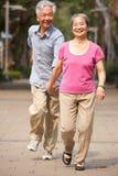 Ältere chinesische Paare, die in Park gehen stockfotos