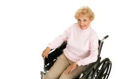 Ältere Dame In Wheelchair Horizontal Lizenzfreie Stockfotografie